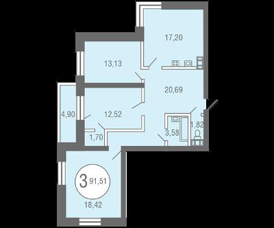 Планировка Трёхкомнатная квартира площадью 91.51 кв.м в ЖК «Квартал Солнечный»
