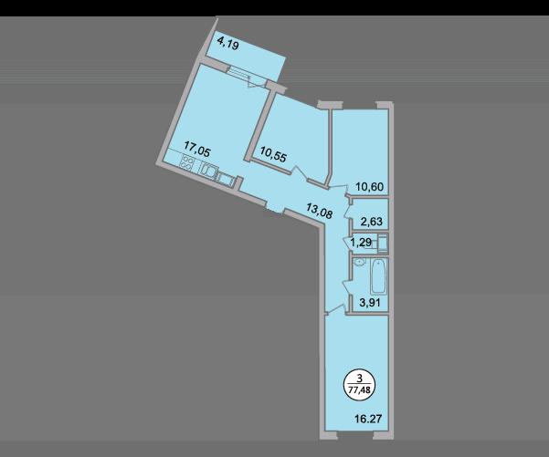 Планировка Трёхкомнатная квартира площадью 77.48 кв.м в ЖК «Квартал Солнечный»