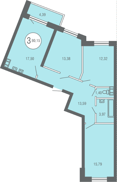 Планировка Трёхкомнатная квартира площадью 80.15 кв.м в ЖК «Квартал Солнечный»