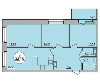 Планировка Трёхкомнатная квартира площадью 66.19 кв.м в ЖК «Квартал Солнечный»